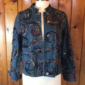 Chicos embellished denim jacket